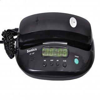 Sonics Black Alarm Clock Phone