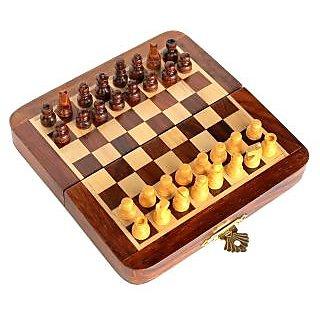 Craftgasmic Premium 7 x 7 inch Staunton chess set Sheeshamwood folding wooden magnetic travel chess