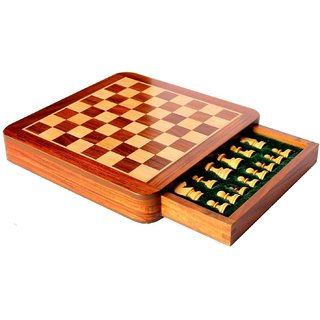 Craftasmic Square Wooden Chess and Magnetic Pieces Set with Storage Drawer (5x5 Inch)