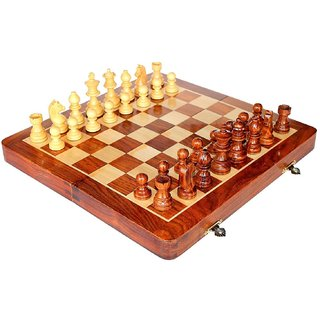 Craftgasmic Folding Magnetic Travel Chess Board Set Wooden Game Handmade Classic Game of Brilliance Small Chess Pieces