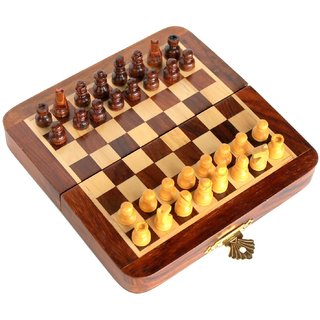 Craftgasmic Collectible Folding Wooden Pocket Travel Chess Game Board Set with Magnetic Crafted Pieces (5 X 5)