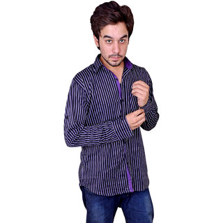 Nation Polo Club Men's Casual Purple Color Striped Shirt