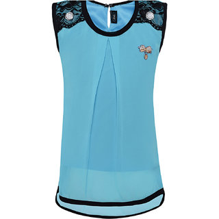 Punkster Polyester Blue Solid Sleeveless Partywear Top For Girls