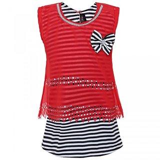 Punkster Polyester Red Striped Sleeveless Top For Girls