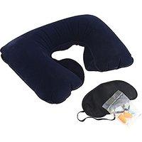 Kudos 3 In 1 Anti Noise Earplug Neck Pillow  Eye Shade Perfect travelling Kit (Black)