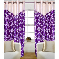 HomeSazwat Purple Flower V Lace Door Eyelet Curtain(4x7ft)
