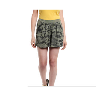 Cult Fiction Mini Skirts Green Printed Women Dress