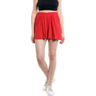 Cult Fiction Mini Skirts Red SolidPlain Women Dress