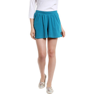 Cult Fiction Mini Skirts Blue SolidPlain Women Dress