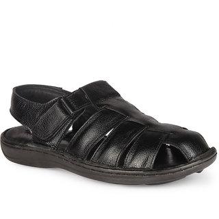 Leather King Men Sandals England Black