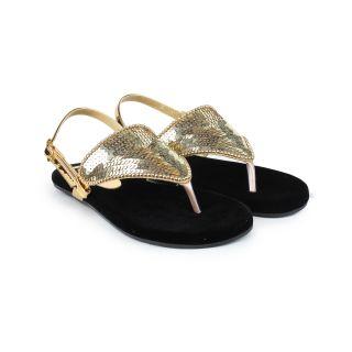 Do Bhai Sandal-Sitara-Golden Flat Sandal for Women