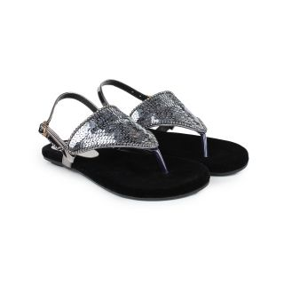 Do Bhai Sandal-Sitara-Silver Flat Sandal for Women