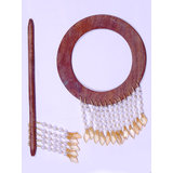 Beautiful Round Shape Curtain Wooden Lock (set Of 2 ) Golden Beads