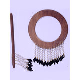 HomeSazawat Beautiful Round Shape Curtain Wooden Lock (set Of 2 ) Black Beads