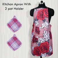 HomeSazawat Beautiful Non Woven Kitchen Apron Set Of 2 With 2 Pot Holder Free