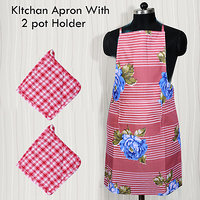 HomeSazawat Beautiful Non Woven Kitchen Apron Set Of 2 + 2 Port Holder Free