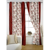 Beautiful Maroon Color Floral Design Ready To Hang Door(7X4 Ft) Curtain
