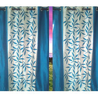 Beautiful Sky Blue Color Floral Design Ready To Hang Door(7X4 Ft) Curtain