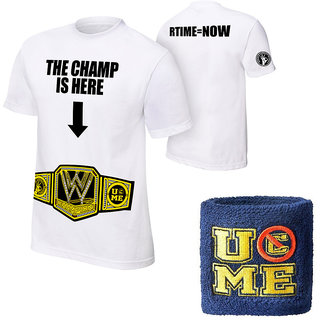 John Cena The Champ Is Here T-shirt With Navy Blue Wrist Band