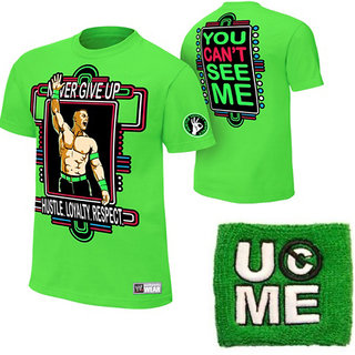 John Cena Neon Green Youth T-shirt With Green Wrist Band