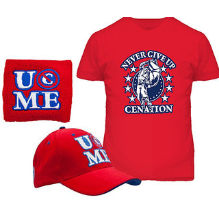 John Cena Salute To Cenation T-shirt With Cap With Green Wrist Band