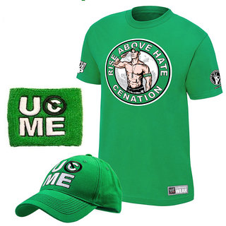 John Cena Never Give Up Cenation T-shirt With Cap With Red Wrist Band