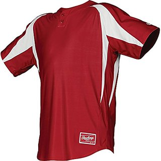 Rawlings  Youth 2-Button Jersey with Inserts, Small, Scarlet