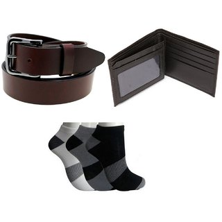 BB Mens Wallet, Belt  Socks Combo