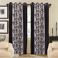 Sweet Home Beautiful Leaf Design Door  Curtain (set Of 2 Pieces)kw1114