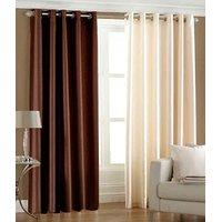 Pack Of 2 Plain Silky Door Curtain - Brown & Cream