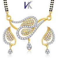 V. K. Jewels Peacock Design Mangalsutra Pendant Set With Earrings- VKMP1022G