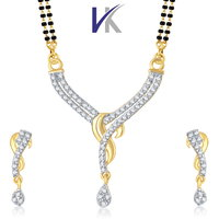 V. K. Jewels Gold And Rhodium Plated Mangalsutra With Earrings-MP1032G