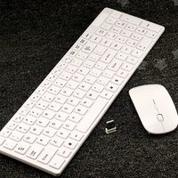2.4Ghz Slim Thin White Wireless Keyboard + Mouse Combo Set For Apple Mac /PC