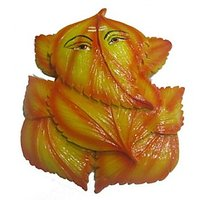 "Leaf Ganesha (Pan Ganesha) 6""- Orange"