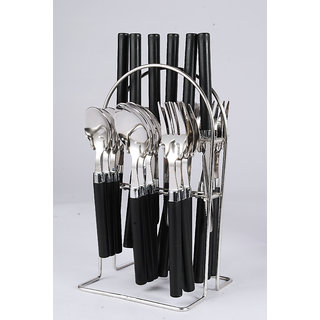 Elegante Opera Black Look Cutlery Set - 24 Pcs With Stand