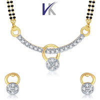 VK Jewels Gold And Rhodium Plated Mangalsutra With Earrings-VKMP1036G
