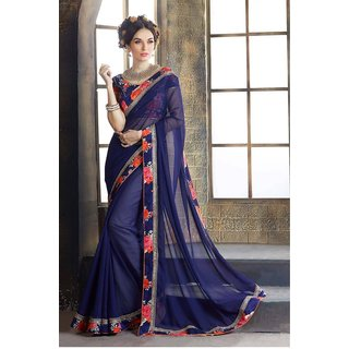4Tigers Blue Georgette Self Design Saree With Blouse