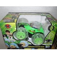 BEN 10 STUNT CAR RECHARGABLE R\C WITH FLASHING LIGHT WHEEL CAR GIFT TOY