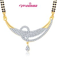 MEENAZ CELESTIAL LOVE GOLD AND RHODIUM PLATED CZ MANGALSUTRA PENDANT MSP709