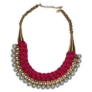 Apsara Braid Style Beautiful And Trendy Pink Pearl Necklace.