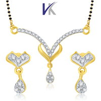 VK Gold And Rhodium Plated Mangalsutra Pendant Set With Earrings- VKMP1044G