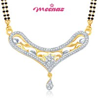 MEENAZ DAZZLING CZ GOLD AND RHODIUM PLATED MANGALSUTRA PENDENT MSP 711