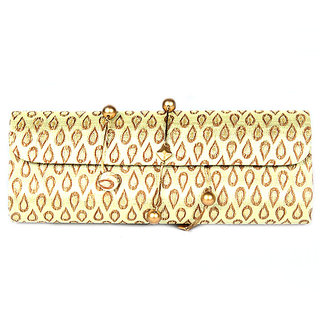 Favola Dholak Style Silk Brocade Yellow And Gold Drop Pattern Clutch Bag