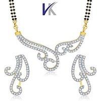 VK Jewels Wavy Gold And Rhodium Plated Mangalsutra With Earrings-VKMP1051G