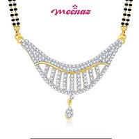 MEENAZ MARVELOUS CZ GOLD AND RHODIUM PLATED MANGALSUTRA  PENDENT MSP 712
