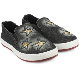 Do Bhai Womens Black Loafers