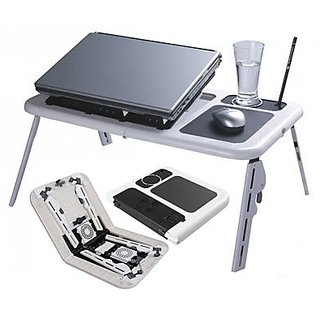 Super E Table Heavy Duty Portable Foldable Laptop ETable With USB Cooling Fan available at ShopClues for Rs.565