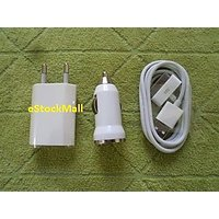 Apple 3 In 1 USB- Power Adapter- Car Charger For Apple Iphone 4g 3g 3gs 2g Ipod