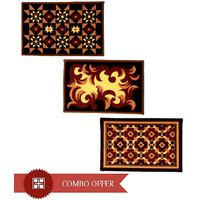 Sweet Home Pack Of 3 Non Slippry Printed Door Mats 37x57cm - Combo Pack