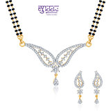 Sukkhi Lavish Cz Gold And Rhodium Plated Mangalsutra Set